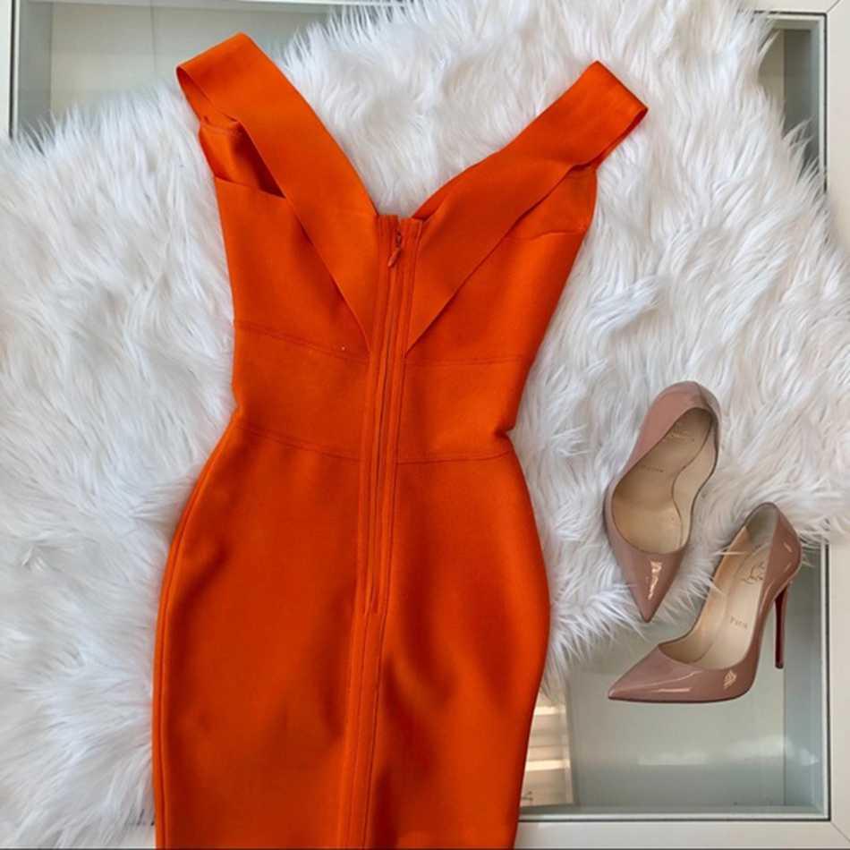 LEGER BABE летние женские бутики Бандажное обтягивающее платье vestidos оранжевый винно-красный, зеленый сексуальный глубокий v-образный вырез без рукавов вечернее платье