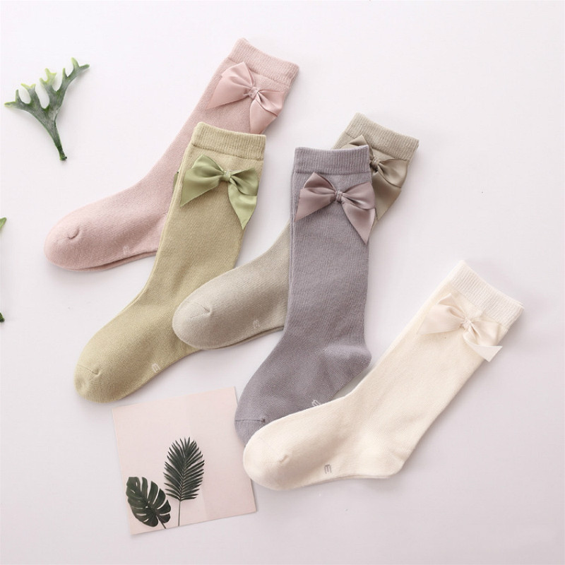 Baby Girls Socks Knee High With Bows Baby Princess Socks For Girl Sweet Cute Baby Socks Long Tube Kids Leg Warmer Colored 1-6Y