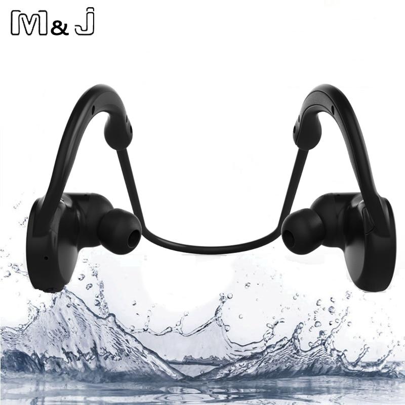 M & J IPX7 impermeable inalámbrica Bluetooth Stereo Headset manos libres deporte del auricular con micrófono para iPhone Samsung Xiaomi nuevo