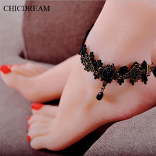 2017 NEW Classic Vintage Handmade Gothic Style Star Shaped Black Lace Anklets Bracelet Women Summer Beach Jewelry Gifts