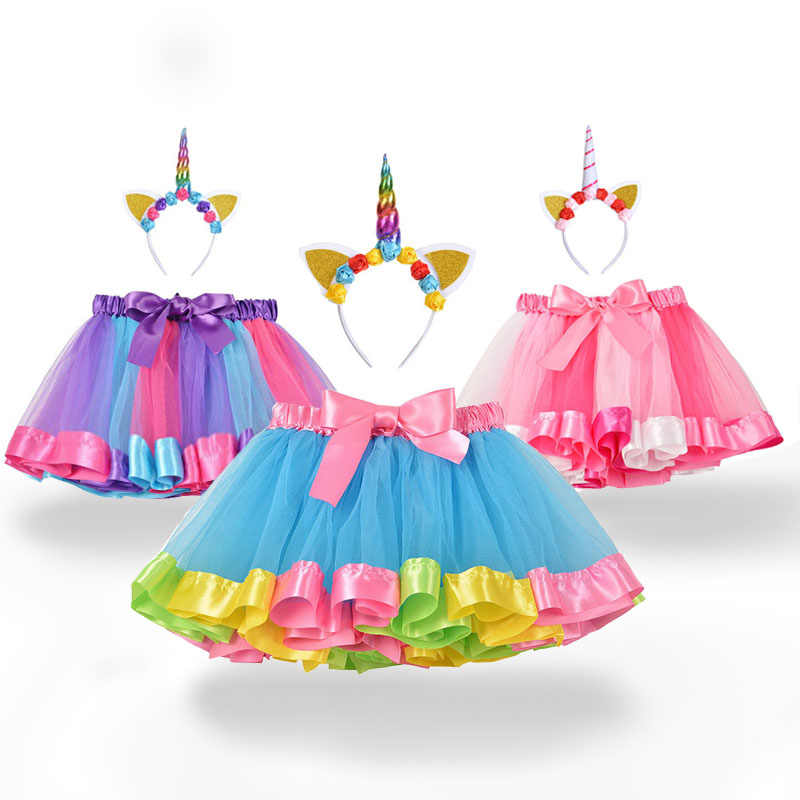 Falda tutú para bebé, ropa para niños, ropa para bebés, falda dulce y bonita para niños, falda de tul, diadema de unicornio, falda de arco iris
