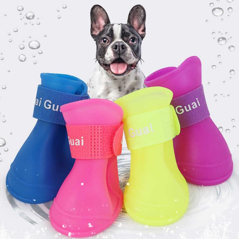 4 pçs/set Sapatos Para Cães De Inverno Anti Derrapante Meias Cão Animais de Estimação Para Gatos 7 Cores Botas De Borracha À Prova D' Água Mais Vendido 2019 Produtos