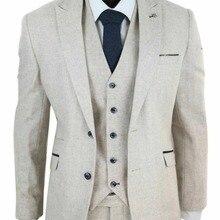 Мужской шерстяной твидовый костюм из 3 предметов в винтажном стиле кремовый классический костюм на заказ