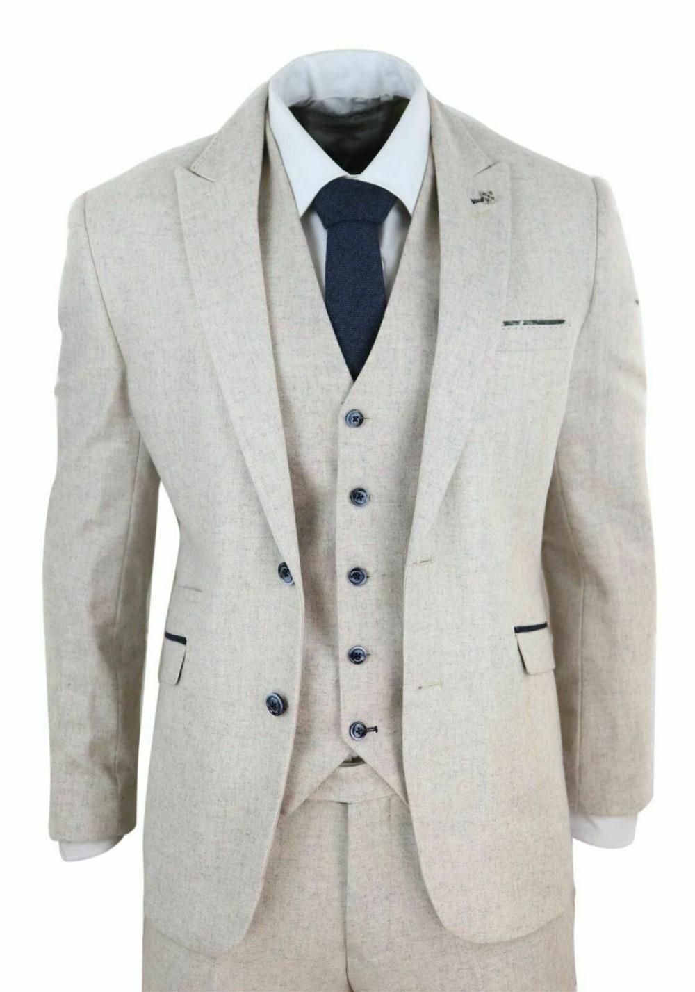 Hommes laine Tweed 3 pièce Vintage Peaky oeillères costume crème rétro classique personnalisé