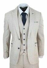 Mens Wool Tweed 3 Piece Vintage Peaky Blinders Suit Cream Retro Classic Custom