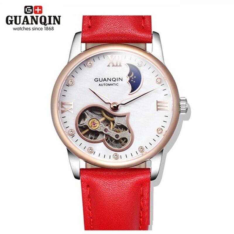Famous Brand Original GUANQIN Women Automatic Mechanical Watch Tourbillon Luxury Watch Leather Ladies Watches Clock Montre Femme