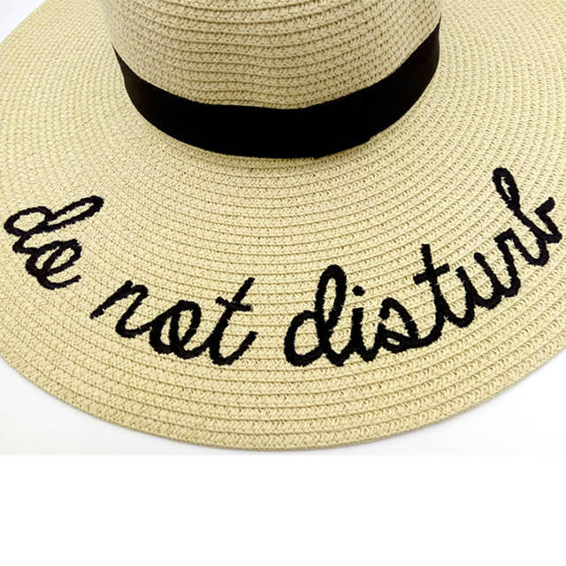 placeholder dropshipping Hot sale wide Brim sun hats for women Letter Embroidery  straw Hats girls Do Not 8689dbdfda89