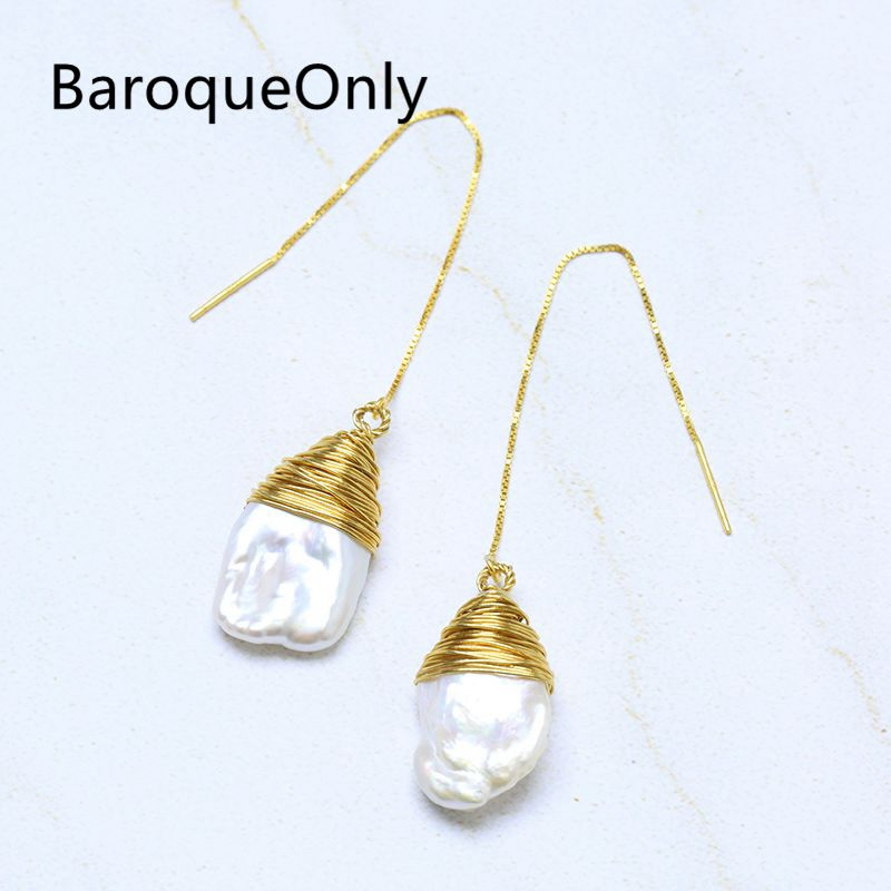 BaroqueOnly white petal baroque pearl dangle earrings wire wraped drop earrings 925 silver sterling vintage jewelry baroqueonly s925 sterling silver 100% natural white baroque big 15 25mm pearl bracelet fashion jewelry for women hl