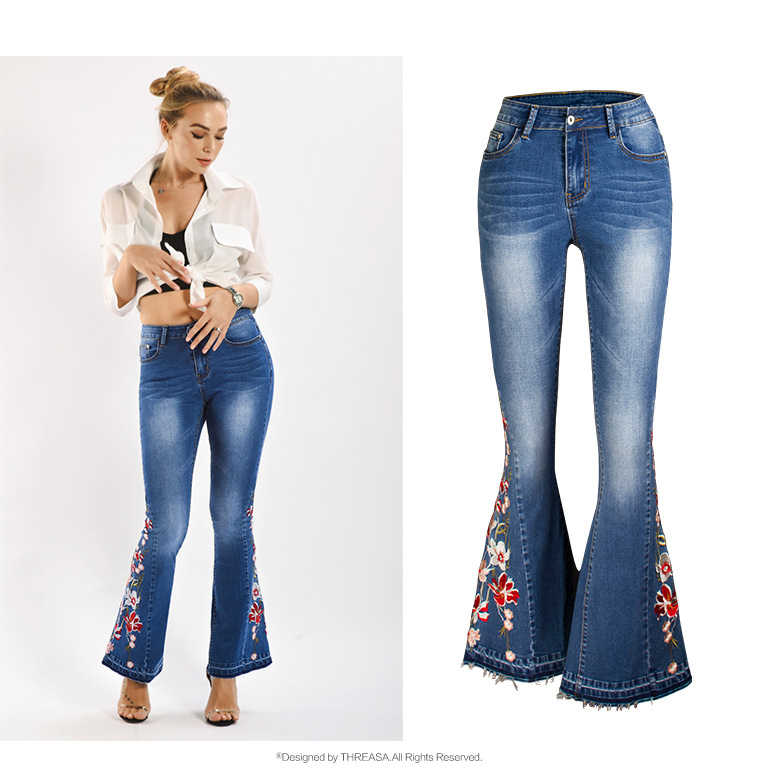2019 hiver broderie petit ami Jeans pour femmes taille haute jambe large maman Jeans grande taille cloche bas Denim Skinny Jeans femmes