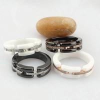 Fashion Black / White Ceramic With Rhinestone CZ Stainless Steel Rings
