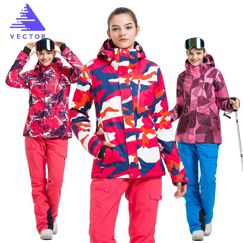 VECTOR Brand Ski Suit Women Warm Waterproof Skiing Suits Set Ladies Outdoor Sport Winter Coats Snowboard