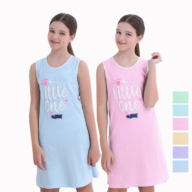 47fe0dbe1b Girls Clothing Night Dress Vest Pajamas Teenage Cotton Nightgown Letters  Printing Sleepping Nightdress Homewear New Arrival 2018