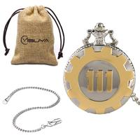 Quartz Pocket Watch Silver Gold Game Fallout 4 Vault 111 Steampunk Women Man Necklace Pendant with Chain