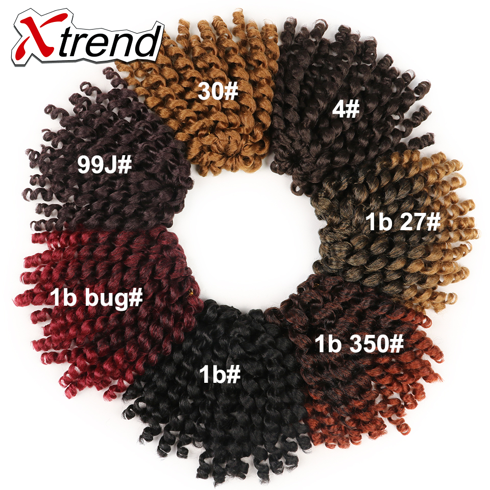 Xtrend 8inch Short Jumpy Wand Curl Bounce Jamaican Crochet Braid Ombre Kanekalon Curly