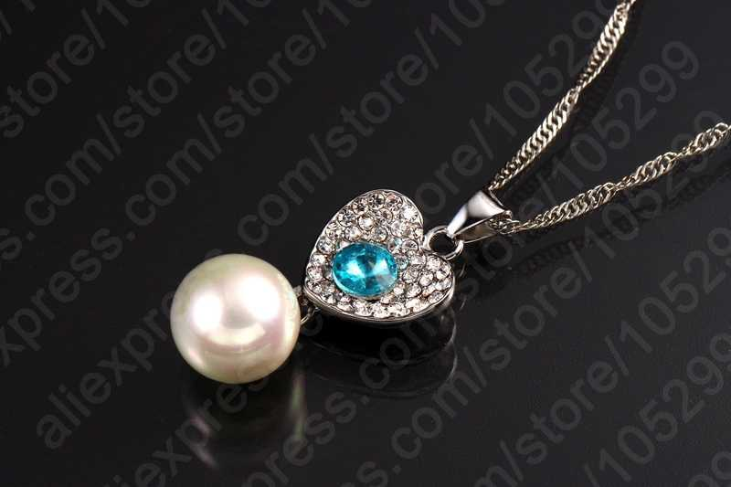 Wedding Fashion Jewelry Sets 925 Sterling Silver Cubic Zircon Crystal Pendant Necklaces Earring Pearl Engagement Set