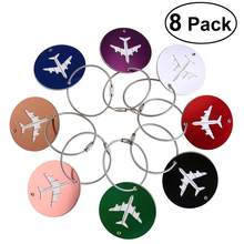 8pcs Air Plane Pattern Luggage Tag Baggage Handbag ID Tag Name Card Holder With Key Ring Luggage Bags Accessories Drop Shipping(China)
