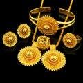 Эфиопские Свадебные Ювелирные Наборы 24 К Позолоченные Ожерелье/Серьги/Кольца/Браслет/Кулон Ювелирные Изделия Африканских/нигерия/Арабский Пунктов