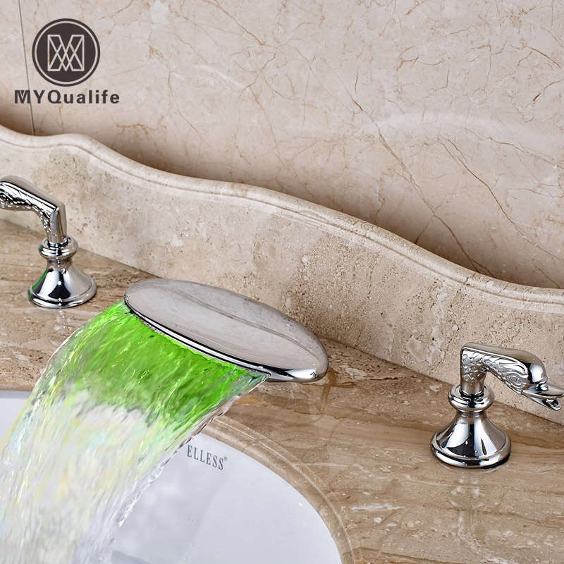 LED Light 3 Color Changing Waterfall Bathroom Mixer Faucet Dual Handle Deck Mounted Basin Faucet