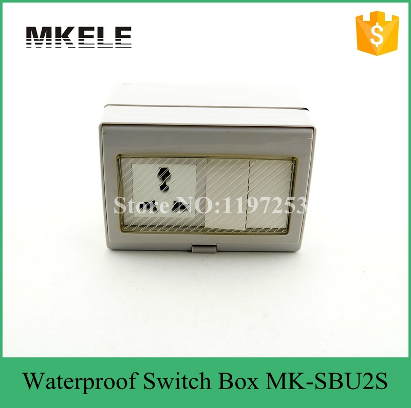 MK-SBU2S useful hot sale 2 Gang waterproof push button on off wall switch socket 10A 250V,bathroom waterproof switch 5pcs lot high quality 2 pin snap in on off position snap boat button switch 12v 110v 250v t1405 p0 5