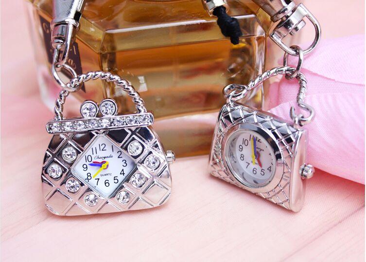 Women's Handbags Watch Diamond Pattern Ladies Girls Cross Body Shoulder Bag Luxury Pocket Watch With Keychain Or Chain