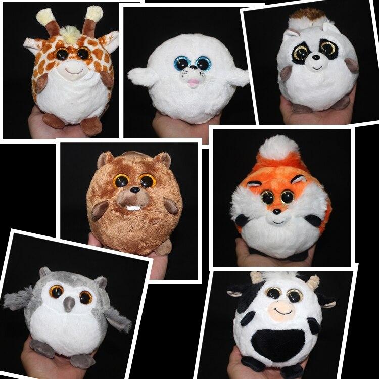 Baby Toy Sphere Cartoon Big Eye Fox Raccoon Owl Dairy Cow Dolphin Beaver Deer Plush Animals Toys