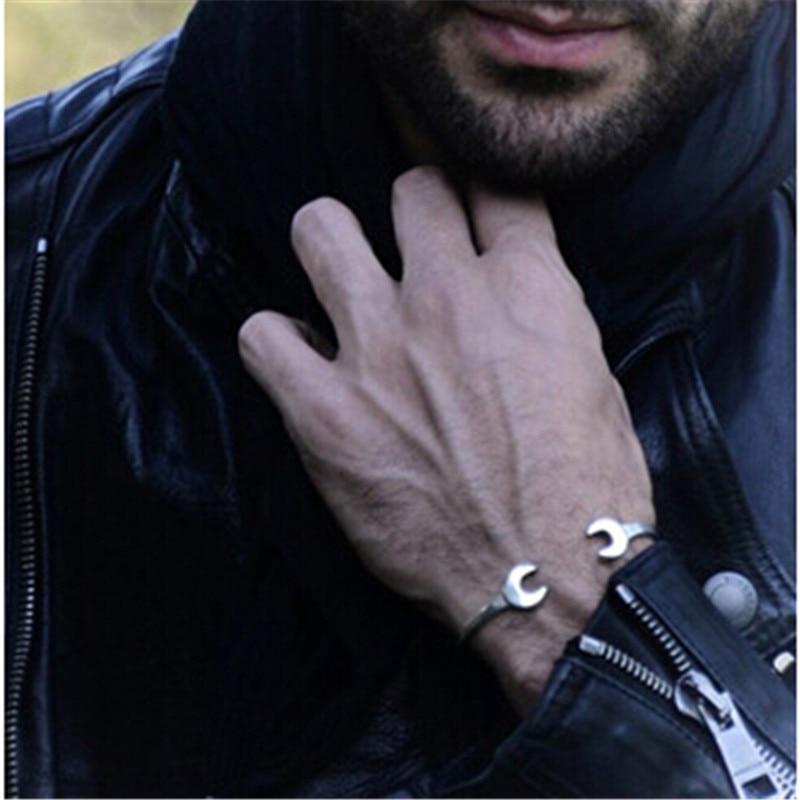 Pedra do vintage ferramentas de aço inoxidável da motocicleta mecânico pulseira homens aberto manguito pulseiras pulseiras feminino masculino jóias pulseiras