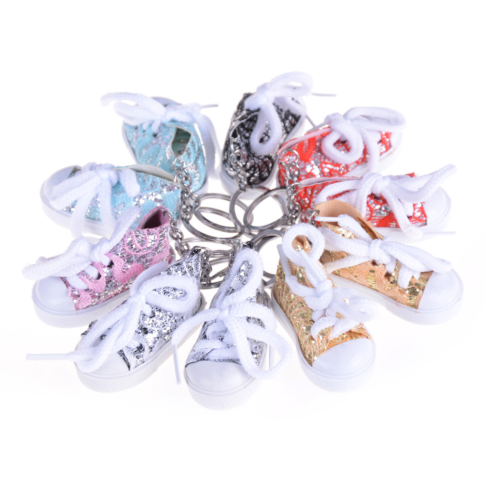 Colourful 1PCS Mini Sequin Tennis Sports Shoe Keychain Keyring Doll Doll Accessories Random Color Funny Gifts
