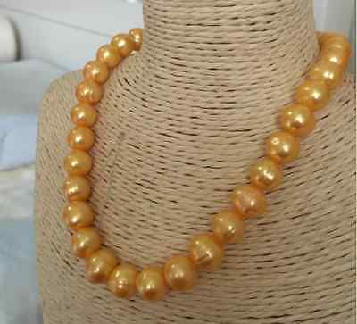 gorgeous 12-13mm south sea baroque gold pearl necklace 18inch>Selling jewerly free shipping