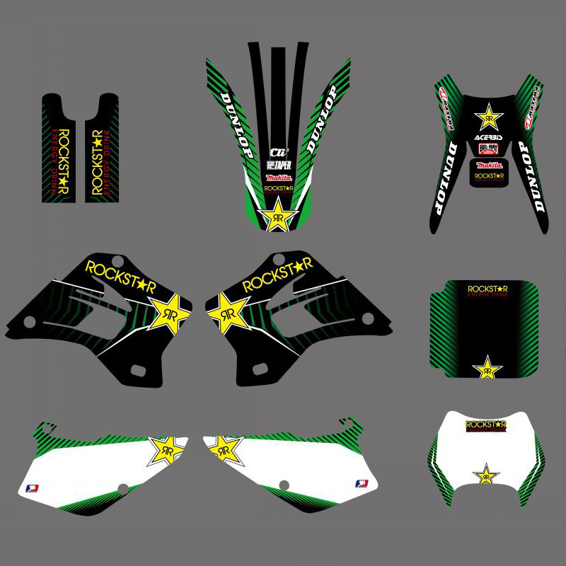 Motorcycle Team Graphics Background Decal Sticker Kit For Kawasaki KDX200 KDX220 KDX 200 220 1995 1996 1997 1998 1999-2008