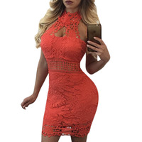 Elegant Red White Floral Lace Dress Summer Halter Backless Hollow Out Bodycon Dress Vintage Sexy Women