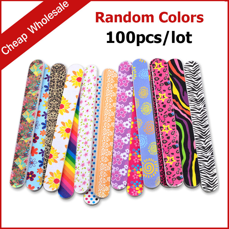 100pcs/set Mix Colorful Designs 2 Sides Professional Nail Art File Buffer Sanding Grit Manicure Pedicure Nail Tools nail clipper cuticle nipper cutter stainless steel pedicure manicure scissor nail tool for trim dead skin cuticle