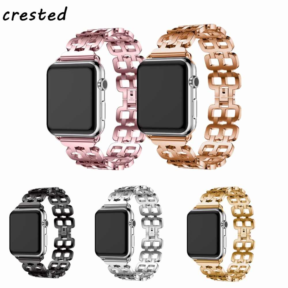 CRESTED Stainless steel strap For Apple Watch 4 band 44mm 40mm correa iwatch series 4/3/2/1 42mm/38mm link bracelet Wrist belt