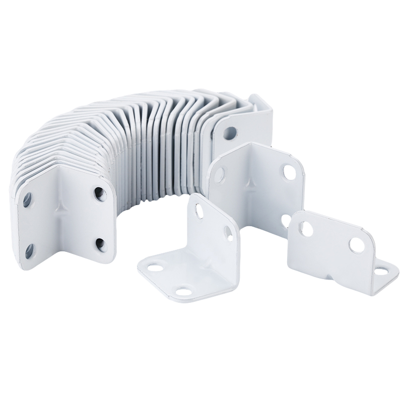 20Pcs White 90 Degrees Right Angled Connector Fittings Wooden Table Wood Connector Paint Cold Rolled Steel 4mounting Screw Holes