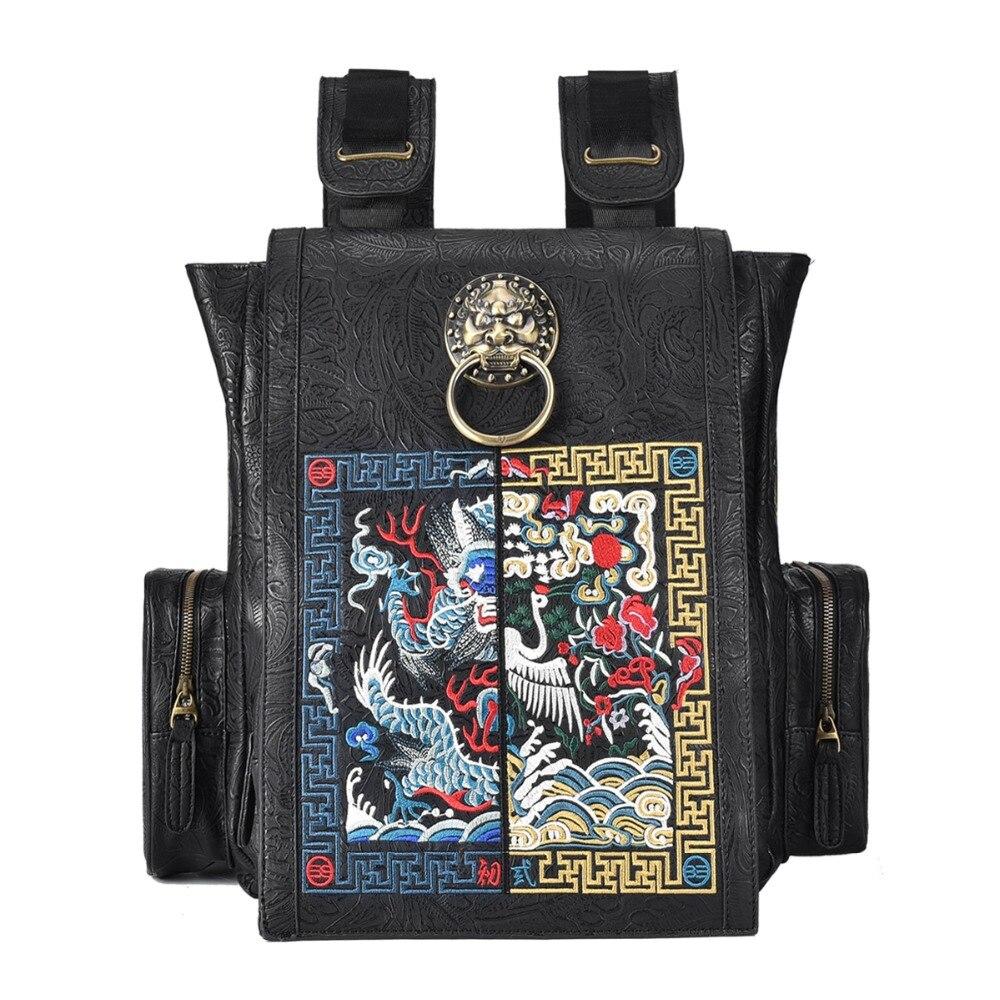 Nouveau Style chinois Lion tête conception hommes sac à dos étanche Vintage Dragon broderie ordinateur portable école sac à dos femmes
