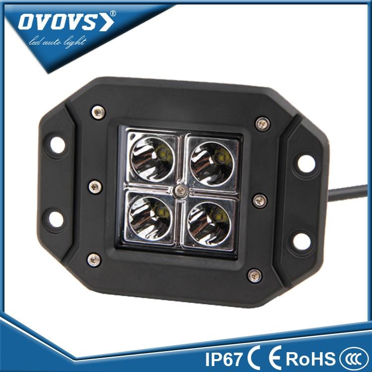 OVOVS square wrangler part flush mount work lamp 12v 12w led work