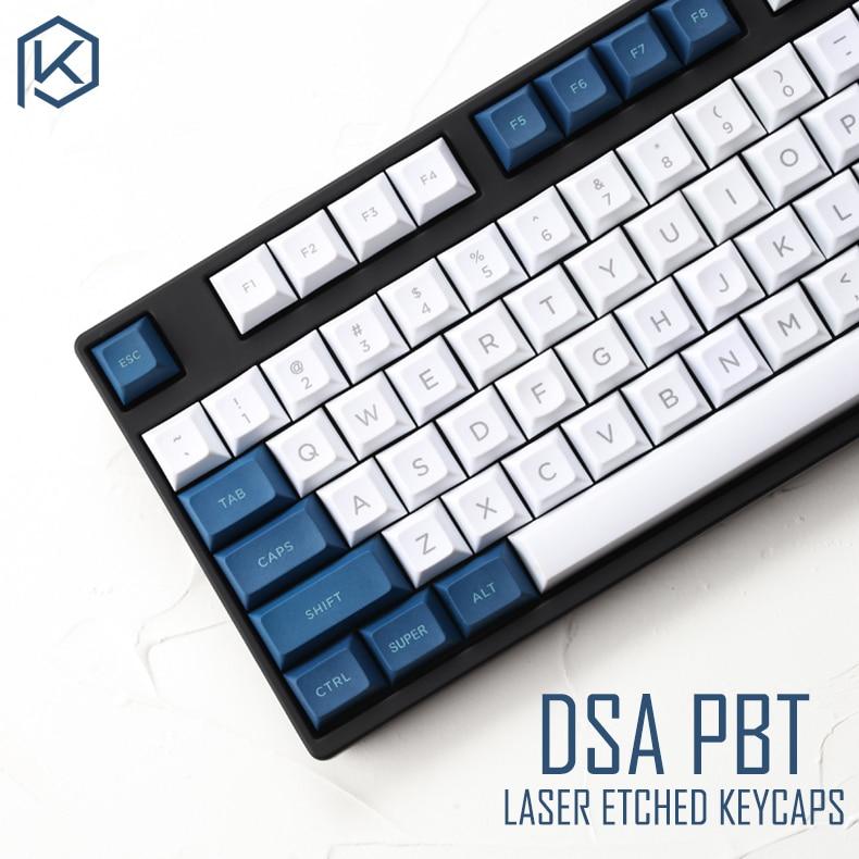 Dsa Pbt Top Printed Legends White Blue Keycaps Laser Etched Gh60 Poker2 Xd64 87 104 Xd75 Xd96 Xd84 Cosair K70 Razer Blackwidow