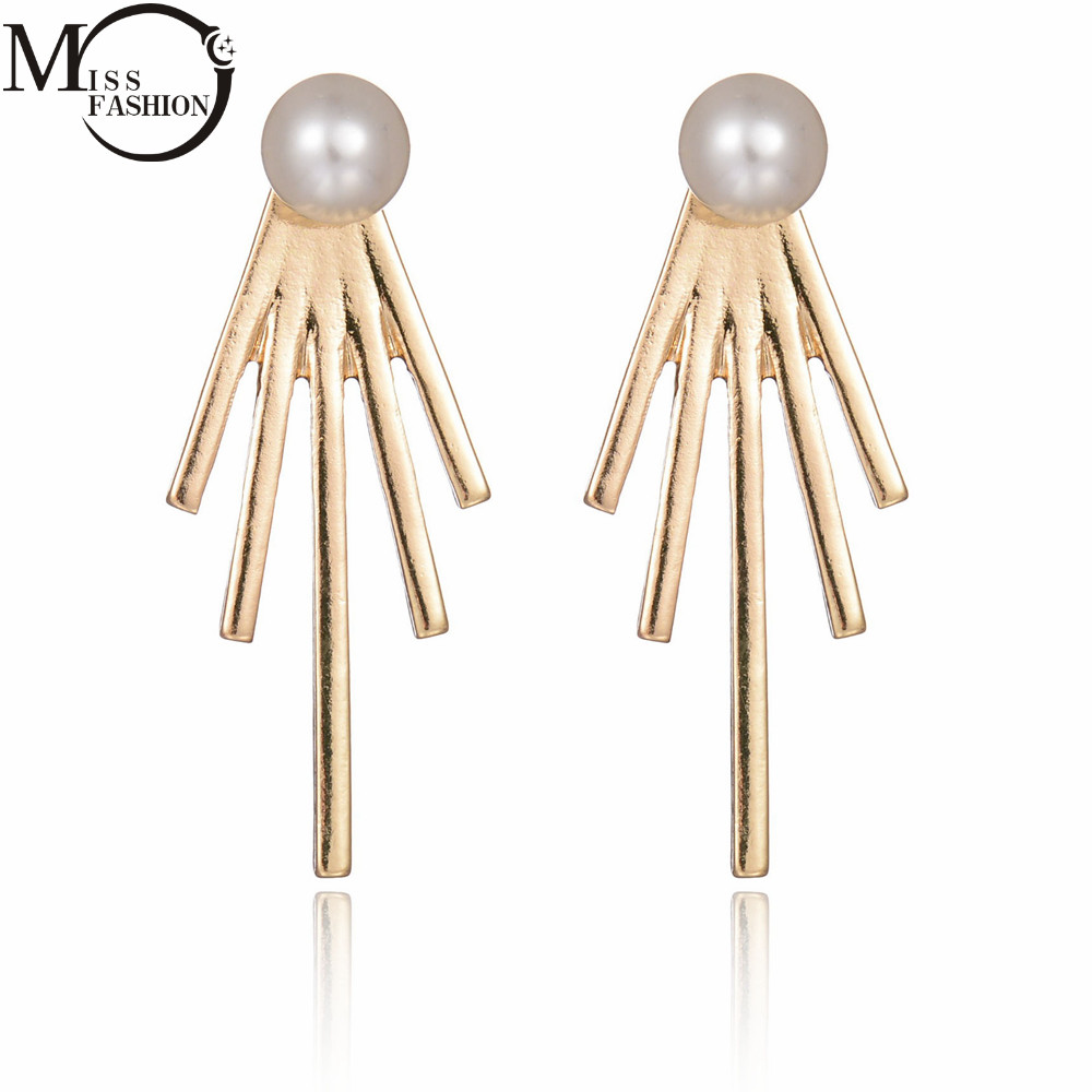 Black Simulated Pearl Front  Back Stud