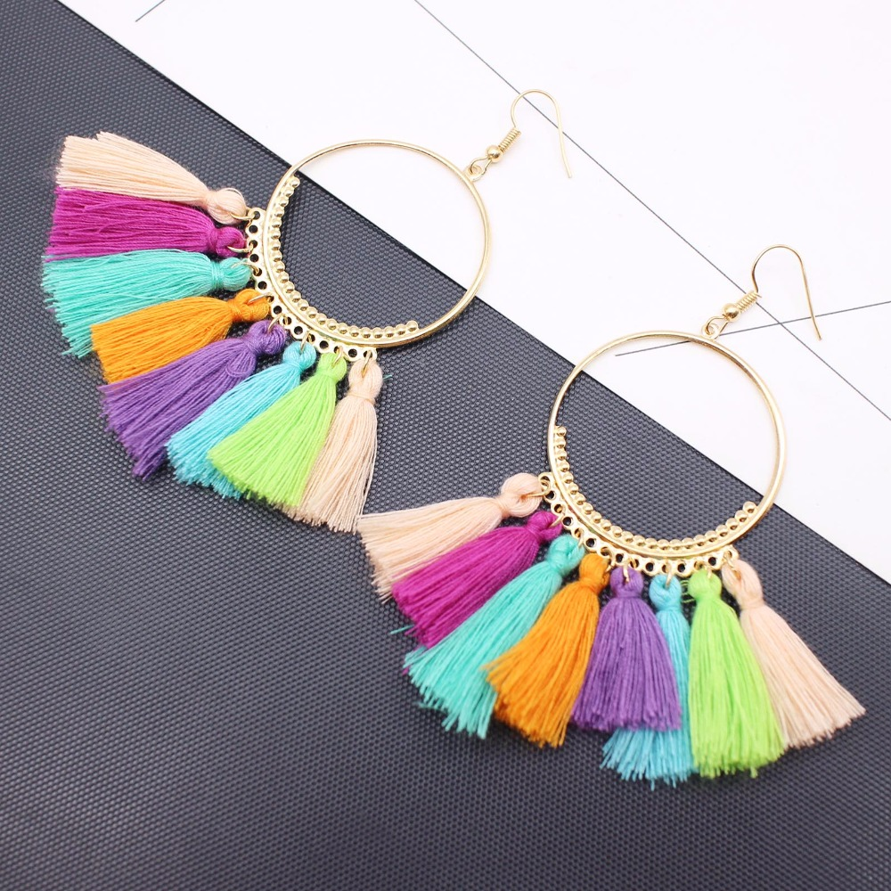19 Colors round dangling pendant Drop earrings woman fabric tassel earring ethnic bohemian fantasy fringed boucles d'oreille 11