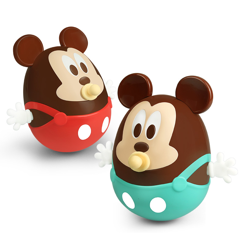Disney Mickey Baby Toys Mobiles Ring Bell Nodding Shaking Tumbler Doll Baby Rattles Roly Poly Toy For Newborns Educational Gift