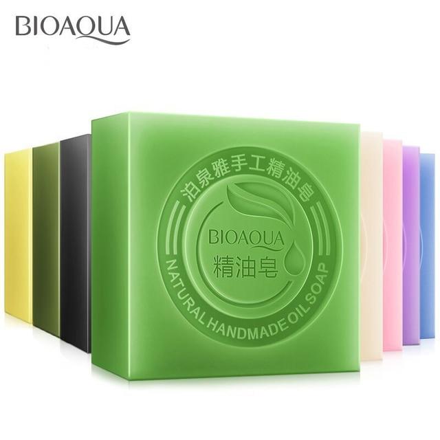 BIOAQUA Natural Plant Essential Oil Handmade Soap Whitening Moisturizing Remove Acne Clean Bath Soap Bamboo Charcoal Soap 100g 5