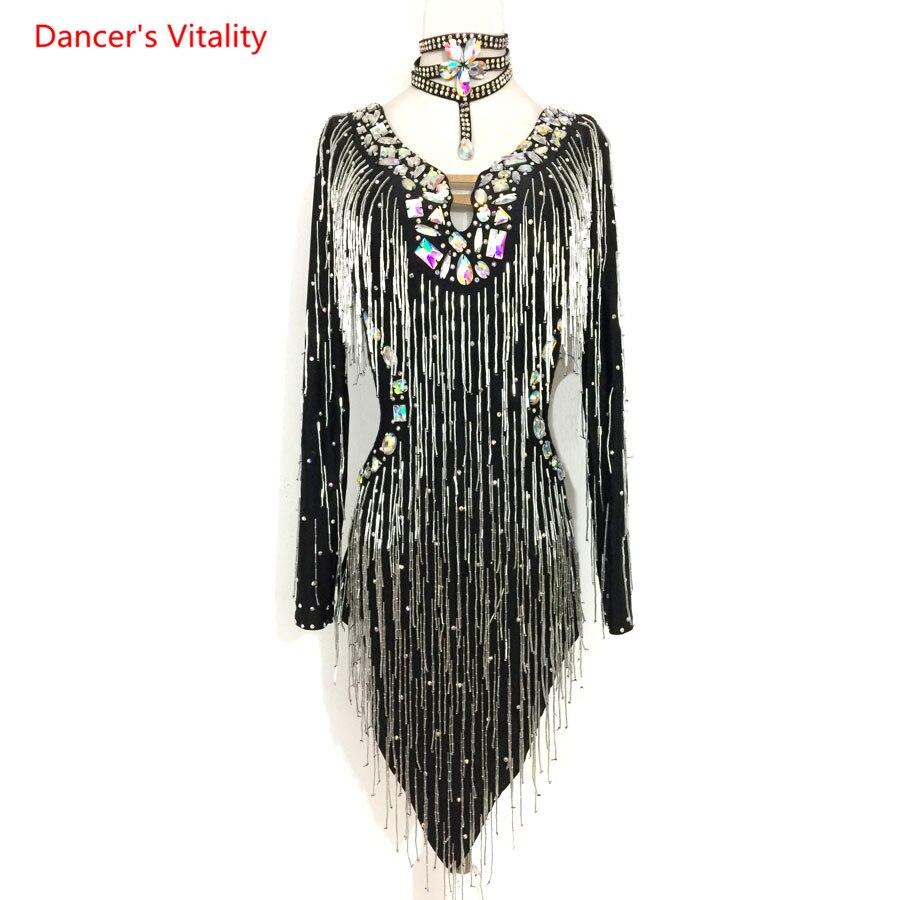 Luxury Diamond Tassel Dress Adult Kids Latin Dance Costume Ballroom Dance Dress For Women/Girls Latin Dance Competition Clothes