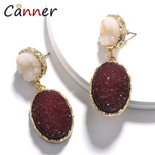 CANNER Chic Design Oval Natural Stone Earrings Bohemian Resin Big Korean Dangle for Women Jewelry kolczyki FI