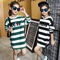 Listrado Crianças Camisetas de Manga Longa de Algodão Crianças Vestidos Para Meninas Roupas Meninas primavera Outono Tees Tops 2016 4 6 8 10 12 anos