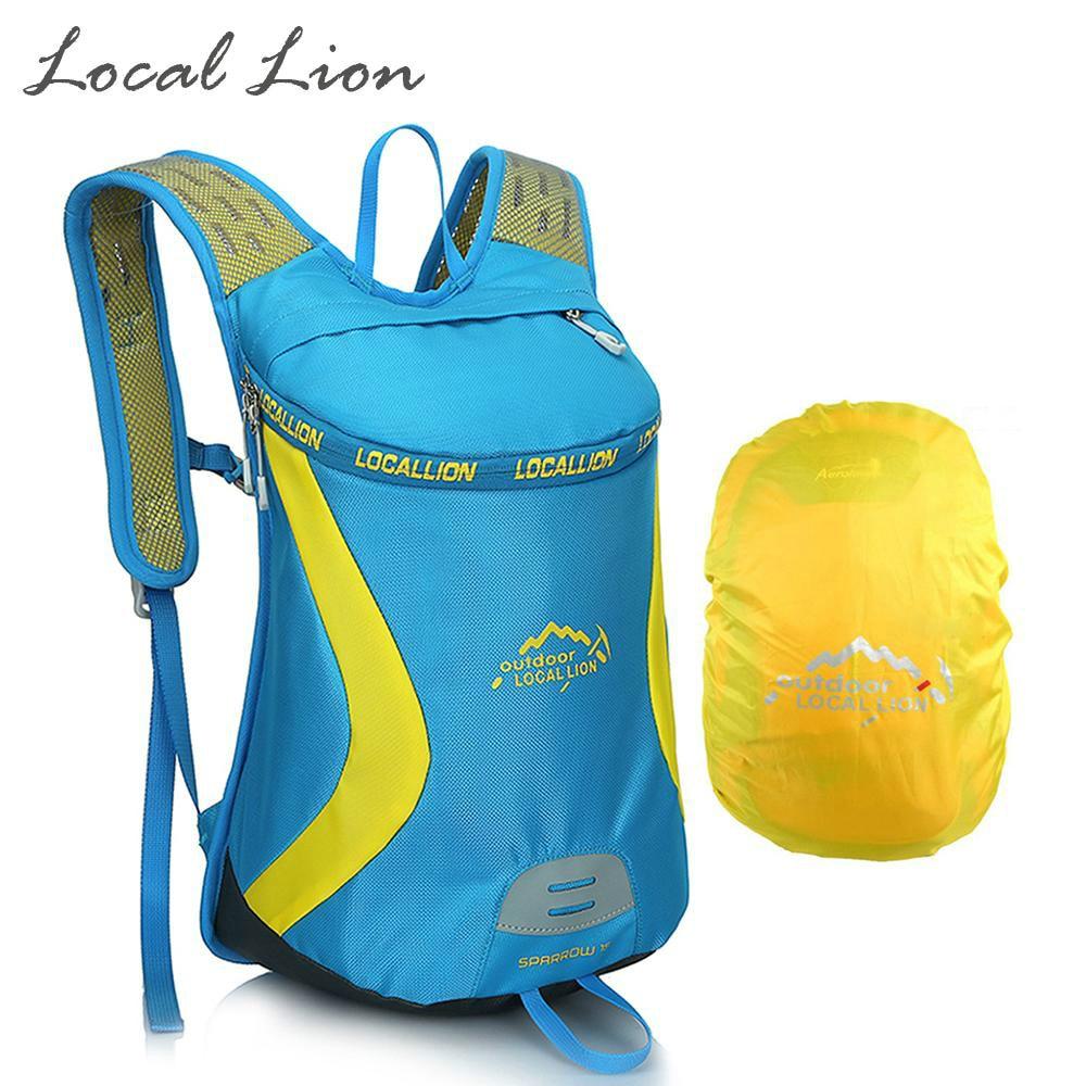 LION LION 15L Backpacking Polyester Berbasikal + Rain Cover Wanita Lelaki Luar Backpack Running Hiking Rucksack Menunggang Knapsack 076