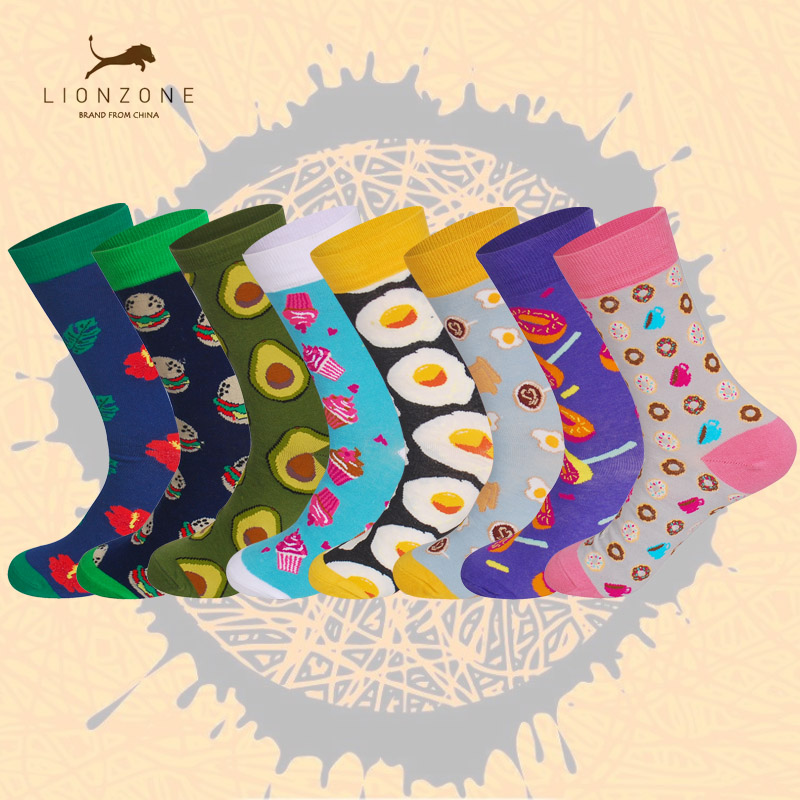 New Arrival Unisex Happy Socks Men&Women Art Abstraction Creative Foods Pattern Sock Fas ...