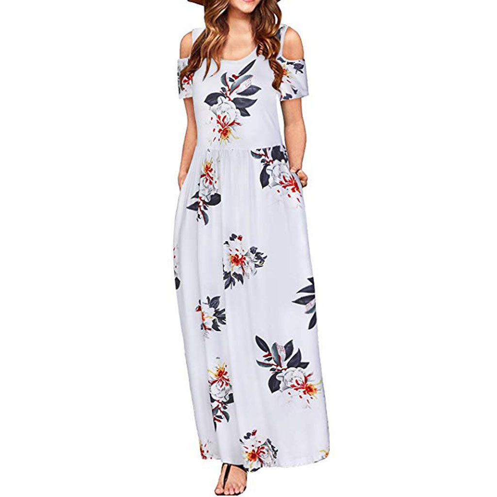 Women Cold Shoulder summer dress Pocket Floral Print Elegant Maxi Short Sleeve Casual dresses woman party