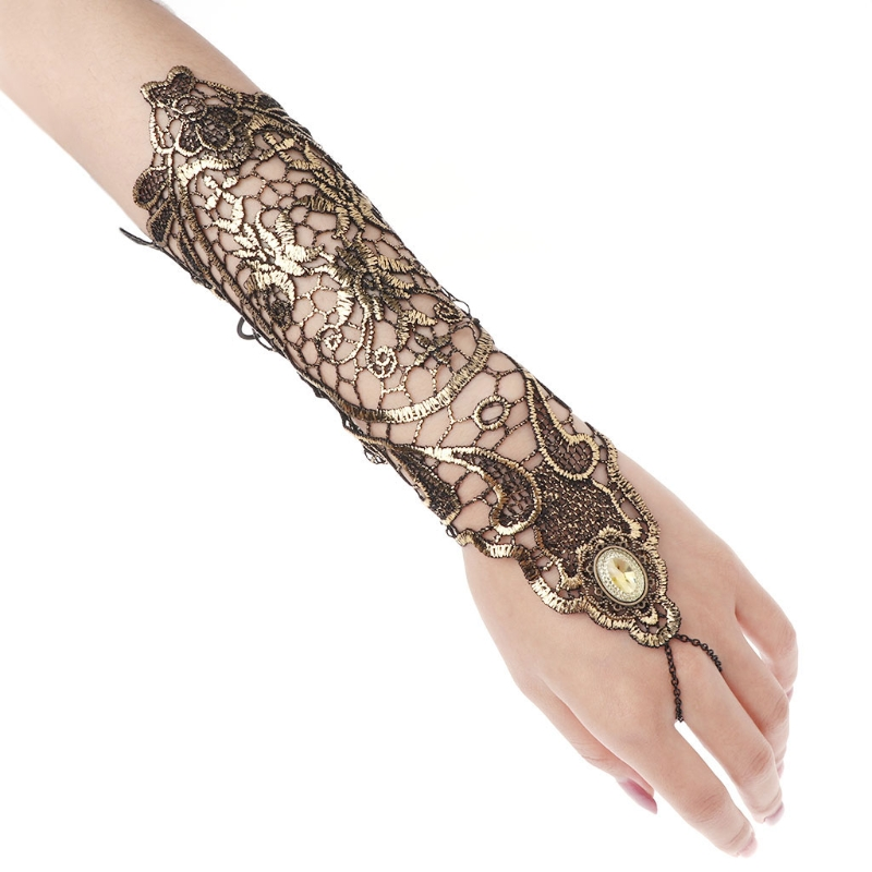 Women Retro Gloves Vintage Golden Lady Long Lace Hollow Out Fingerless Gloves Costume Props
