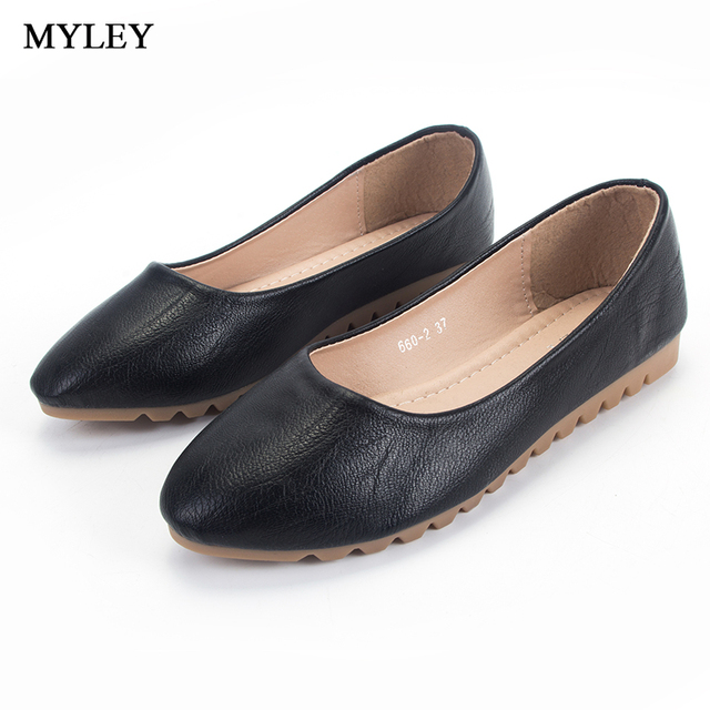 44f601791462d US $16.91 |MYLEY Black Apricot Classic Round Toe Ballet Flats Shoes Slip On  Low Heel Casual Footwear Ladies Office Solid Boat Shoes-in Women's Flats ...