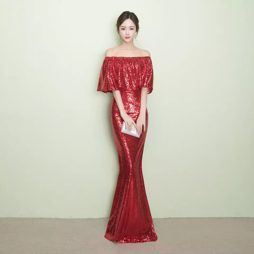 D008 ruffles neck off the shoulder floor length rose gold sequined dresses in Dresses from Women 39 s Clothing