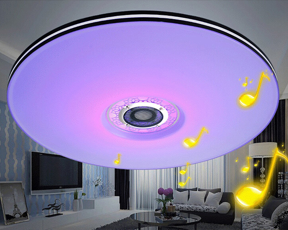 Mumeng Led-deckenleuchte Moderne RGB Wohnzimmer Luminaria 32W Bluetooth  Lautsprecher Glanz Musik Party Lampe Acryl Schlafzimmer Leuchte